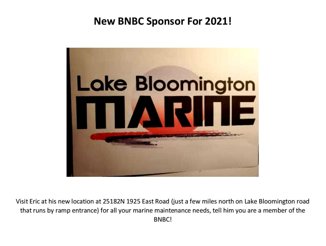 Lake Bloomington Marine Sponsor Logo